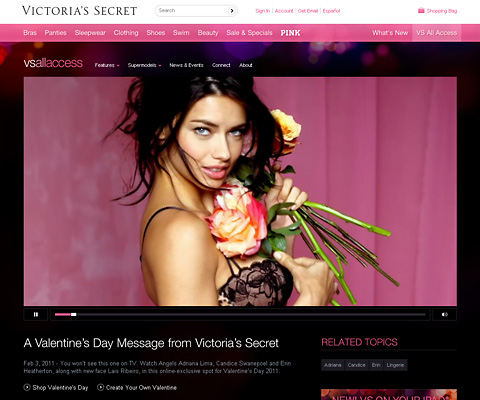 PC Webデザイン A Valentine's Day Message from Victoria's Secret