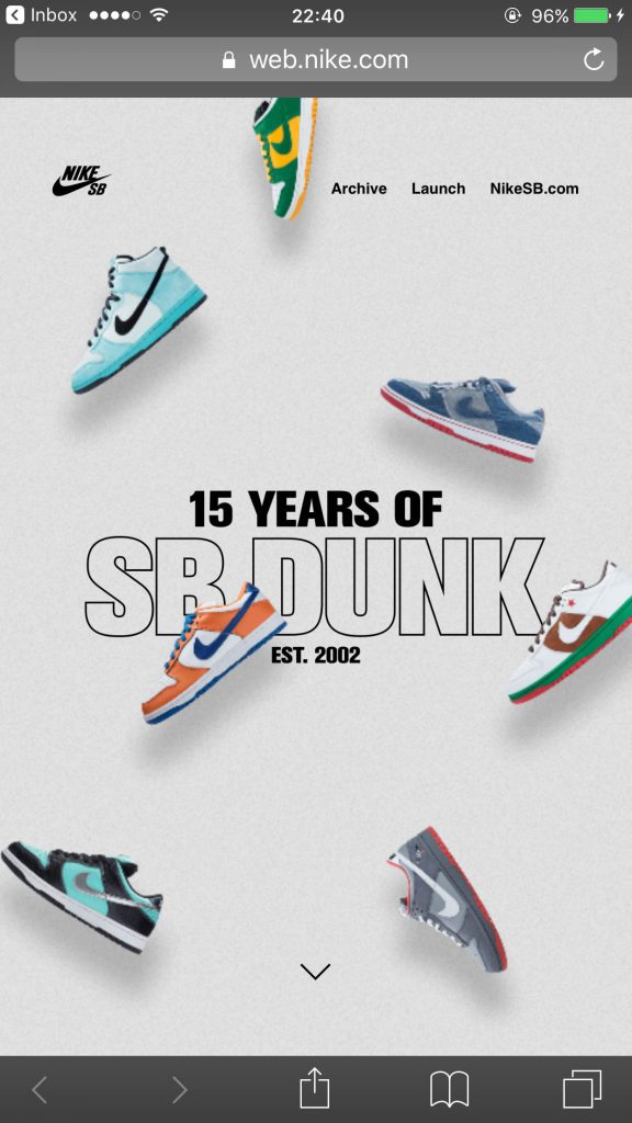 iPhone Webデザイン Nike - 15 Years of SB Dunk