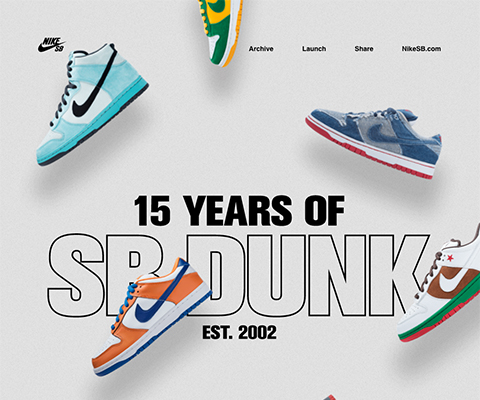 PC Webデザイン Nike - 15 Years of SB Dunk