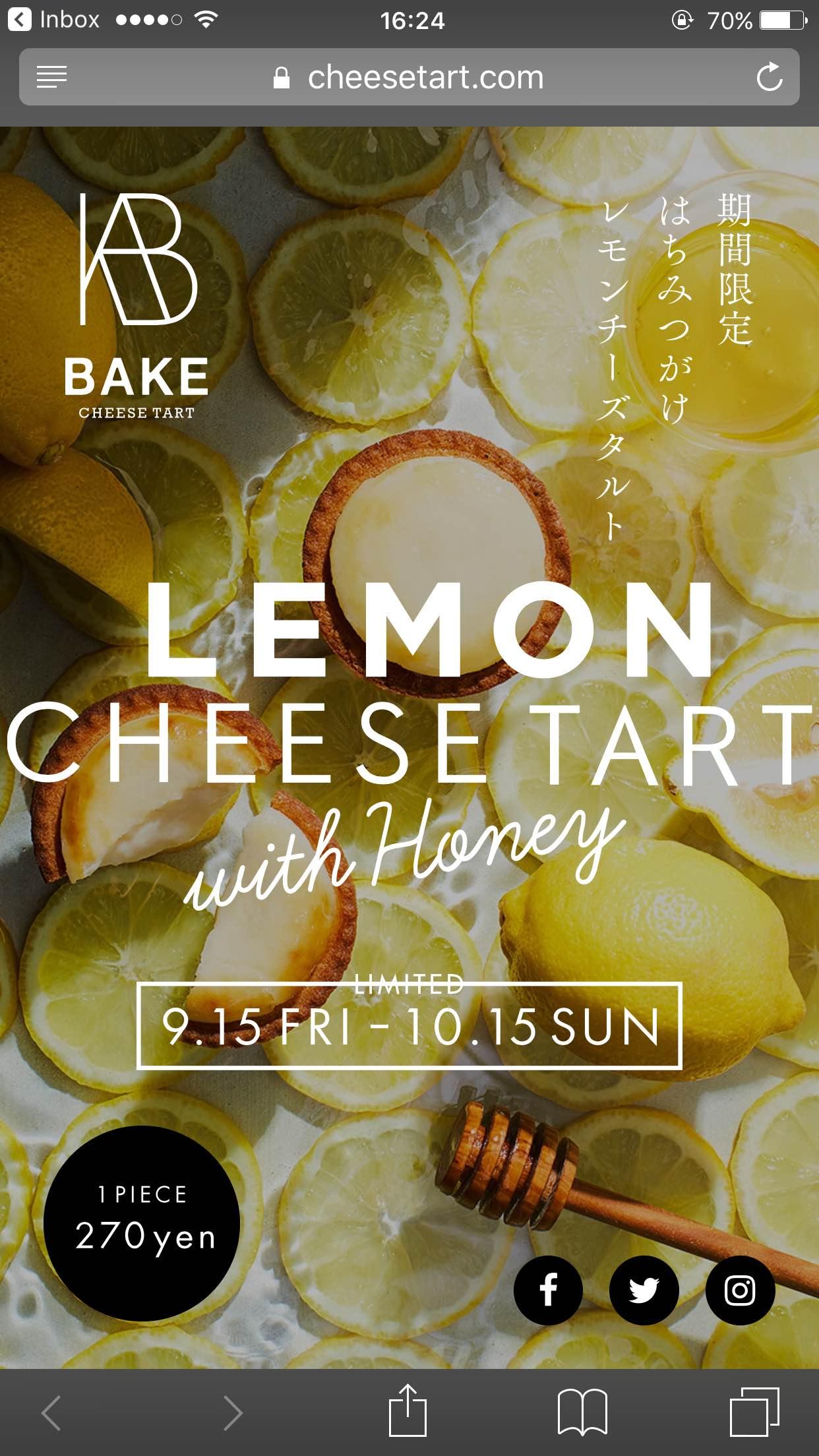はちみつがけレモンチーズタルト | ベイク チーズタルト | BAKE CHEESE TART